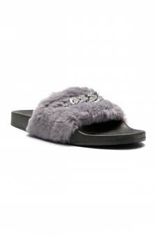 HerStyle SL-16110102 Faux Fur Slide Sandal with chain Accent-Grey