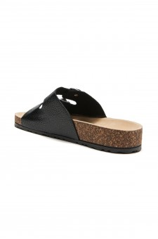 HerStyle SL-16110112 Double Buckled Cork Foot bed Sandal(Black)