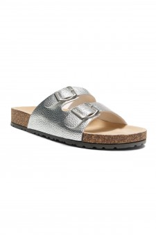 HerStyle SL-16110112 Double Buckled Cork Foot bed Sandal (Silver)