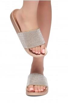HerStyle SL-170801 Open Toe Jewelled Embellishment Slide Sandal (RoseGold)