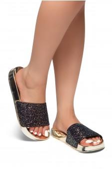 HerStyle SL-170802-Encrusted Iridescent Glitter Open Toe Slide Sandal (BlackGLT)