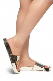 HerStyle SL-170803-Metallic Open Toe Slide Sandal (Gold)