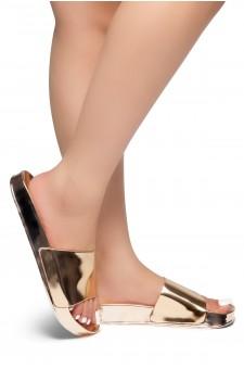 HerStyle SL-170803-Metallic Open Toe Slide Sandal (RoseGold)