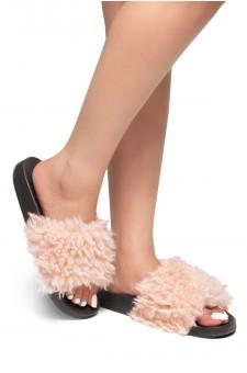 HerStyle SL-170806-Curly Shearling Fur Slide Sandal (Mauve)