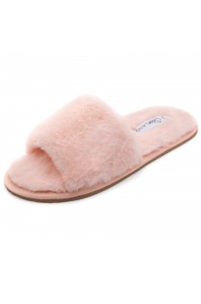 Shoe Land SL-ADRERINIA Women's Fuzzy Slides Open Toe Faux Fur Flat Sandals Fashion House Indoor or Outdoor Slippers (Pink)