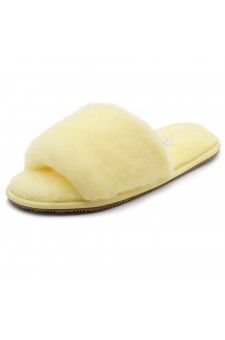 Shoe Land SL-ADRERINIA Women's Fuzzy Slides Open Toe Faux Fur Flat Sandals Fashion House Indoor or Outdoor Slippers (Yellow)