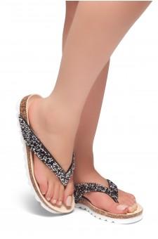 HerStyle SL-ALICE-Rhinestone Details Open Toe Thong Slide Sandal (Black)