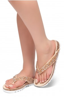 HerStyle SL-ALICE-Rhinestone Details Open Toe Thong Slide Sandal (RoseGold)