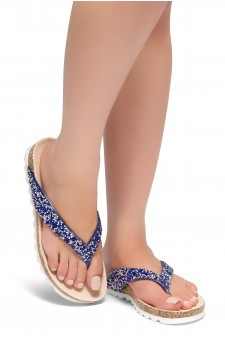 HerStyle SL-ALICE-Rhinestone Details Open Toe Thong Slide Sandal (RoyalBlue)