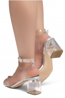Shoe Land SL-Amaya Perspex Low Block Heel, ankle strap with an adjustable buckle (ClearSilver)