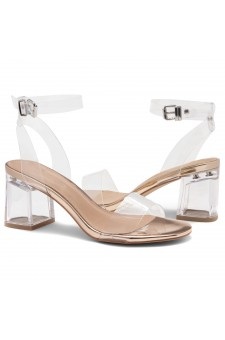 Shoe Land SL-Amaya Perspex Low Block Heel, ankle strap with an adjustable buckle (ClearRosegold)