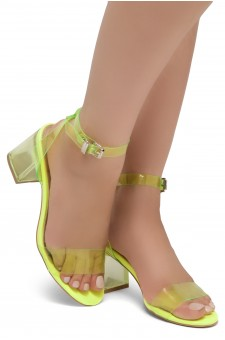 Shoe Land SL-Amaya Perspex Low Block Heel, ankle strap with an adjustable buckle (NularLime)