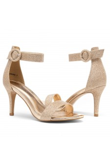 Shoe Land SL-Ambrosia-Stiletto Heel Ankle Strap Rounded Buckle Open Toe with Back Closure (RoseGold Shimmer)