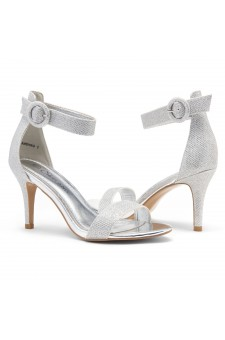 Shoe Land SL-Ambrosia-Stiletto Heel Ankle Strap Rounded Buckle Open Toe with Back Closure (Silver Shimmer)