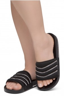 Shoe Land SL-Best Wishes-Women's Fashion Rhinestone Slide Slip On Summer Sandals (1901BLK/BLK)