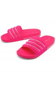 Shoe Land SL-Best Wishes-Women's Fashion Rhinestone Slide Slip On Summer Sandals (1901FUSH/FUSH)