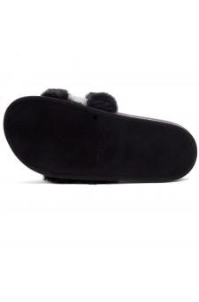 Shoe Land SL-Best Wishes-Women's Fashion Furry Slide Slip On Sandals (2021Black)