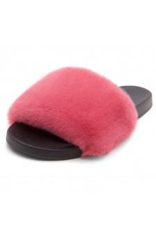 Shoe Land SL-Best Wishes-Women's Fashion Furry Slide Slip On Sandals (FUSHSPU/BLK)