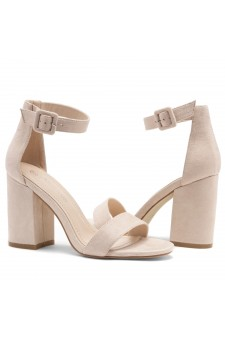 Shoe Land SL-CABRINI- Low Chunky Block Heel Ankle Strap Sandals (Nude)