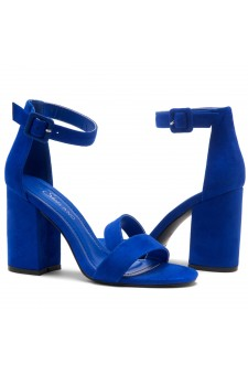 Shoe Land SL-CABRINI- Low Chunky Block Heel Ankle Strap Sandals (RoyalBlue)