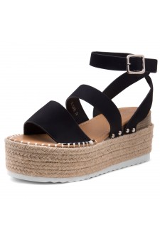 Shoe Land SL-Capri Womens Open Toe Ankle Strap Platform Sandals Causal Espadrille Wedge Shoes(Black)