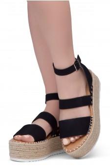 Shoe Land SL-Capri Womens Open Toe Ankle Strap Platform Sandals Causal Espadrille Wedge Shoes(Black)