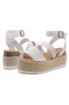 Shoe Land SL-Capri Womens Open Toe Ankle Strap Platform Sandals Causal Espadrille Wedge Shoes(OffWhite)