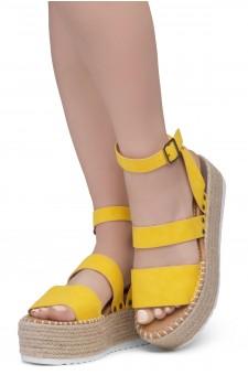 Shoe Land SL-Capri Womens Open Toe Ankle Strap Platform Sandals Causal Espadrille Wedge Shoes(Yellow)