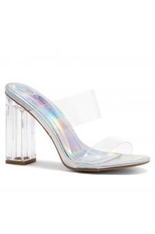 Shoe Land SL-Cllaary Perspex heel, Slide On Sandals(1906/ClearSilver)