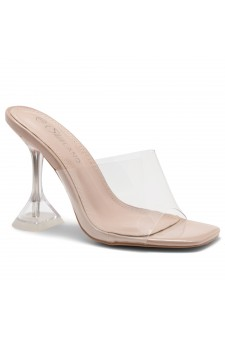 Shoe Land SL-Cllaary-Women's Clear Peep Toe Slip on Heeled Mules Slipper (1996/ClearNude)
