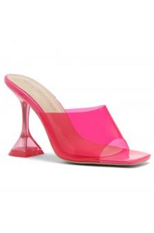 Shoe Land SL-Cllaary-Women's Clear Peep Toe Slip on Heeled Mules Slipper (1996/NeonPink)