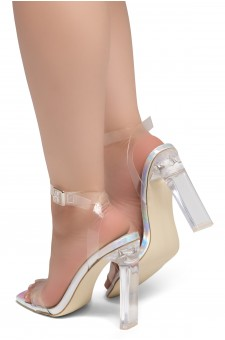 Shoe Land SL-Cllaary Perspex heel, ankle strap with an adjustable buckle (2010/ClearSilver)