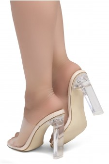 Shoe Land SL-Cllaary Perspex heel, Slide On Sandals(2020/ClearNude)