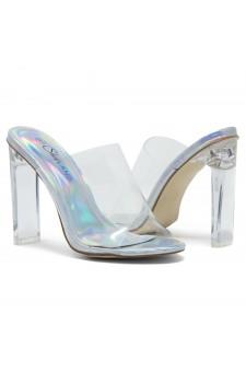 Shoe Land SL-Cllaary Perspex heel, Slide On Sandals(2020/ClearSilver)