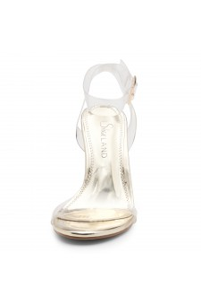 Shoe Land SL-Cllaary Perspex heel, ankle strap with an adjustable buckle (2030/ClearGold)