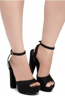 Shoe Land SL-Cutesy-Open Toe Open Back Chunky Platform Heel (1836/Black)