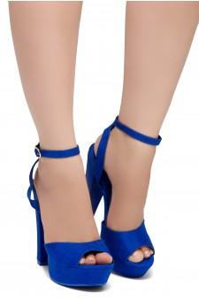 Shoe Land SL-Cutesy-Open Toe Open Back Chunky Platform Heel (1836/RoyalBlue)