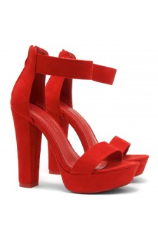 Shoe Land SL-Cutesy-Ankle Strap Chunky Platform Heel (Red)