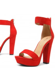 Shoe Land SL-Cutesy-Ankle Strap Chunky Platform Heel (Red)