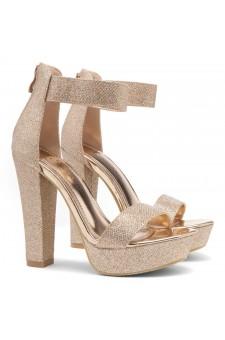 Shoe Land SL-Cutesy-Ankle Strap Chunky Platform Heel (RoseGoldShimmer)