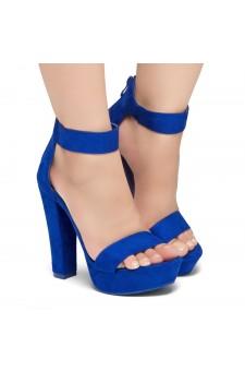 Shoe Land SL-Cutesy-Ankle Strap Chunky Platform Heel (RoyalBlue)