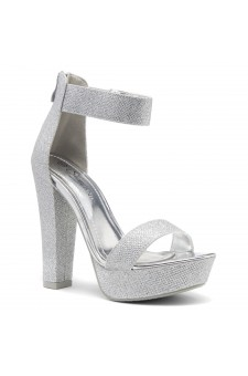 Shoe Land SL-Cutesy-Ankle Strap Chunky Platform Heel (SilverShimmer)
