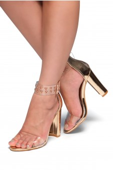 HerStyle SL-ESTORIA-Chunky heel, Perspex details (Clear Rose Gold)