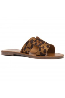 Shoe Land SL-Greece- Lightweight Flat Easy Slide-On Sandals (Leopard)