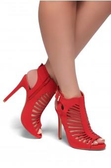 HerStyle SL-Kerina-Peep toe, Stiletto heel, Cutout details (Red)