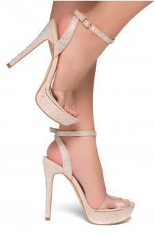 Shoe Land SL-Lascala- Ankle Strap and Perspex Vamp Platform Sandals (Clear/Nude)