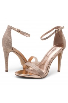 Shoe Land SL-Lovering- Ankle Strap Open Toe Back Closure Stiletto Heel (1896RosegoldShimmer)