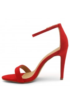 Shoe Land SL-Lovering- Ankle Strap Open Toe Back Closure Stiletto Heel (1901Red)