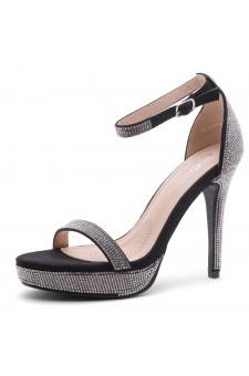 Shoe Land SL-Lovering- Ankle Strap Open Toe Back Closure Stiletto Heel (2020BlackSilver)