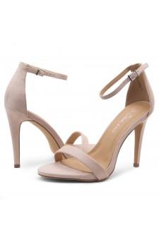 Shoe Land SL-Lovering- Ankle Strap Open Toe Back Closure Stiletto Heel (Beige)